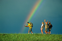 Hikers catching a rainbow at Little Missouri National Grassland, North Dakota, AGPix_0323.