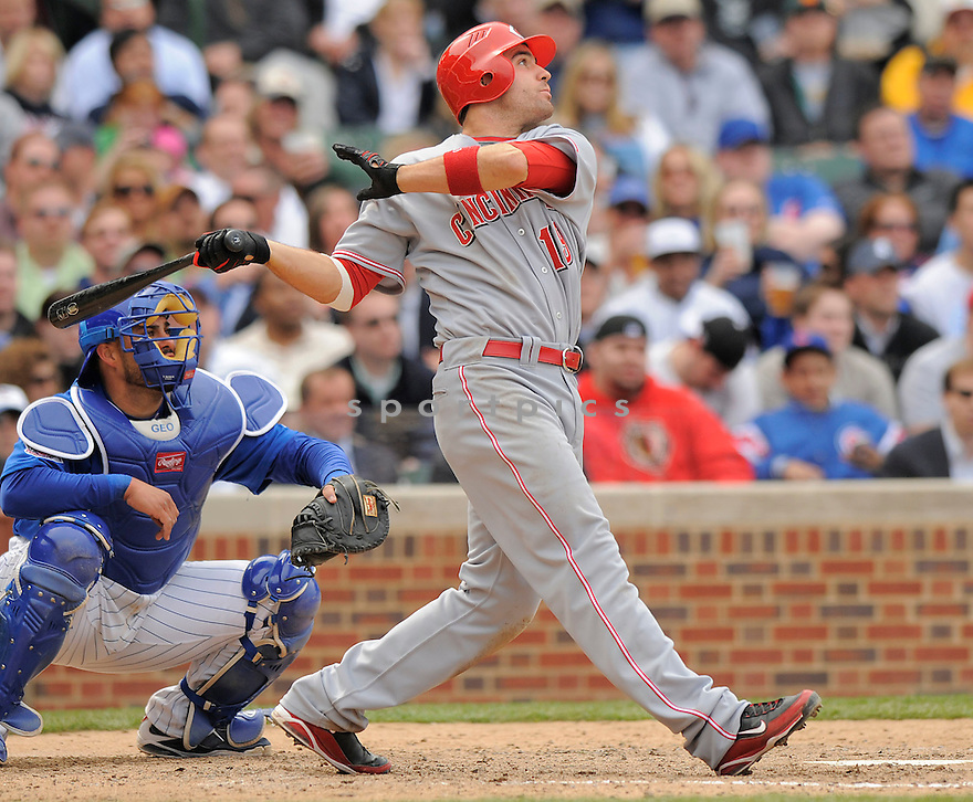 JOEY VOTTO, of the Cincinnati Reds, in action  during the Reds game against the Chicago Cubs  on April 23, 2009 in Chicago, Illinois  The Reds beat  the Cubs 7-1.