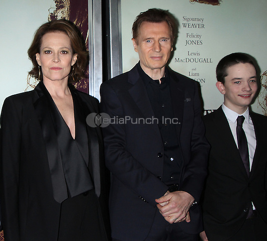 NEW YORK, NY December 067: Sigourney Weaver, Liam Neeson, Lewis MacDougall| at Focus Features present New York  Premiere of A Monster Calls  at the AMC Loews Lincoln Square in New York .December 07, 2016. Credit:RW/MediaPunch