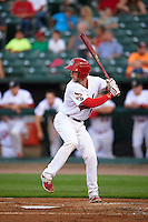 Peoria Chiefs catcher Steve Bean (8) at bat during a game against the Wisconsin Timber Rattlers on August 21, 2015 at Dozer Park in Peoria, Illinois.  Wisconsin defeated Peoria 2-1.  (Mike Janes/Four Seam Images)