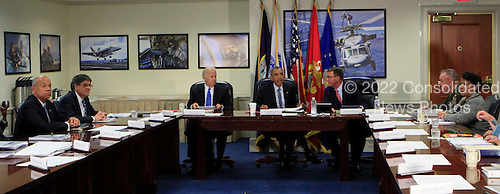 United States President Barack Obama chairs a meeting at the Pentagon of the National Security Council and receives an update from his national security team on the campaign to degrade and destroy the ISIL terrorist group.(left to right: Secretary of Homeland Security Jeh Charles Johnson, Secretary of the Treasury Jack Lew, Vice President Joseph Biden, President Barack Obama, Secretary of Defense Ashton Carter, Chairman of Joint Chiefs of Staff  General Joseph F. Dunford Jr.and Attorney General Loretta Lynch.<br /> Credit: Dennis Brack / Pool via CNP