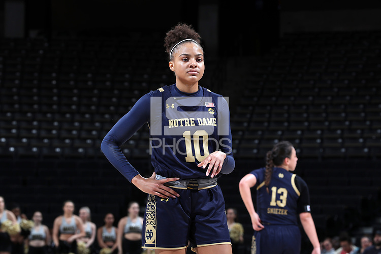 WINSTON-SALEM, NC - FEBRUARY 06: Katlyn Gilbert #10 of the University of Notre Dame waits at the free throw line during a game between Notre Dame and Wake Forest at Lawrence Joel Veterans Memorial Coliseum on February 06, 2020 in Winston-Salem, North Carolina.