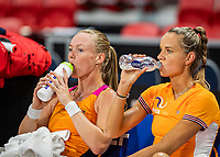 The Hague, The Netherlands, Februari 4, 2020,  Sportcampus , FedCup  Netherlands - Balarus, Dutch team practise, Kiki Bertens  (L) and Arantxa Rus.<br /> Photo: Tennisimages/Henk Koster