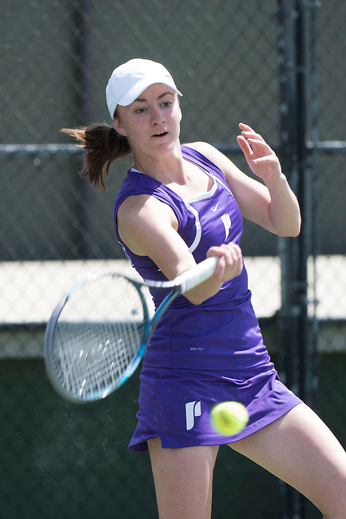 April 23, 2014; San Diego, CA, USA; Portland Pilots player Jelena Lazarevic during the WCC Tennis Championships at Barnes Tennis Center.