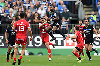 Semesa Rokoduguni of Bath Rugby claims the ball in the air. Heineken Champions Cup match, between Bath Rugby and Stade Toulousain on October 13, 2018 at the Recreation Ground in Bath, England. Photo by: Patrick Khachfe / Onside Images