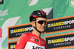 Tiesj Benoot (BEL) Lotto-Soudal at sign on before the start of the 112th edition of Il Lombardia 2018, the final monument of the season running 241km from Bergamo to Como, Lombardy, Italy. 13th October 2018.<br /> Picture: Eoin Clarke | Cyclefile<br /> <br /> <br /> All photos usage must carry mandatory copyright credit (© Cyclefile | Eoin Clarke)
