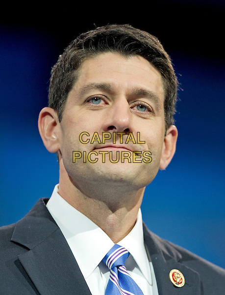 United States Representative Paul Ryan (Republican of Wisconsin) makes remarks at CPAC 2013 At the Gaylord National Resort & Convention Center in National Harbor, Maryland, USA, .March 15th 2013..american politics portrait headshot .CAP/ADM/CNP/RS.©Ron Sachs/CNP/AdMedia/Capital Pictures.