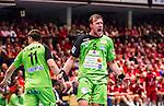 Eskilstuna 2014-05-12 Handboll SM-semifinal 3 Eskilstuna Guif - Alings&aring;s HK :  <br /> Alings&aring;s Max Darj jublar efter ett m&aring;l<br /> (Foto: Kenta J&ouml;nsson) Nyckelord:  Eskilstuna Guif Sporthallen Alings&aring;s AHK SM Semifinal Semi jubel gl&auml;dje lycka glad happy