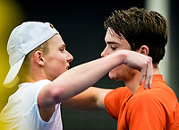 Alphen aan den Rijn, The Netherlands, 25 Januari 2019, ABNAMRO World Tennis Tournament, Supermatch, Final,  Ryan Nijboer  (NED)  (R)  wins the supermatch and is congratulated by Jesper de Jong (NED)<br /> <br /> Photo: www.tennisimages.com/Henk Koster