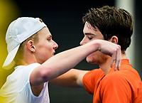 Alphen aan den Rijn, The Netherlands, 25 Januari 2019, ABNAMRO World Tennis Tournament, Supermatch, Final,  Ryan Nijboer  (NED)  (R)  wins the supermatch and is congratulated by Jesper de Jong (NED)<br /> <br /> Photo: www.tennisimages.com/Henk Koster