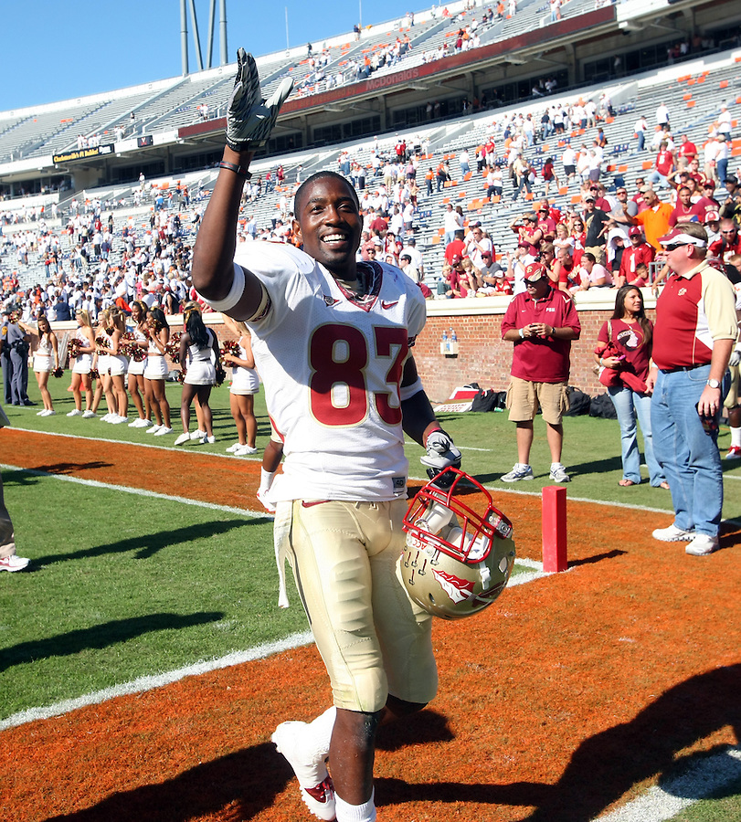 Oct 2, 2010; Charlottesville, VA, Florida State Seminoles wide receiver Bert Reed (83) waves hello to the fans after the 34-14 win over the Virginia Cavaliers at Scott Stadium. Florida State won 34-14.  Photo/The Daily Progress/Andrew Shurtleff