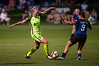 Kansas City, MO - Saturday June 17, 2017: Merritt Mathias, Lo'eau Labonta during a regular season National Women's Soccer League (NWSL) match between FC Kansas City and the Seattle Reign FC at Children's Mercy Victory Field.