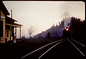 Train approaching Cumbres station with pusher at end.<br /> D&amp;RGW  Cumbres, CO