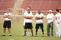 21 April 2007: Corey Hill and the alumni during the Alumni's 38-33 victory over the coaching staff during a flag football exhibition at Stanford Stadium in Stanford, CA.