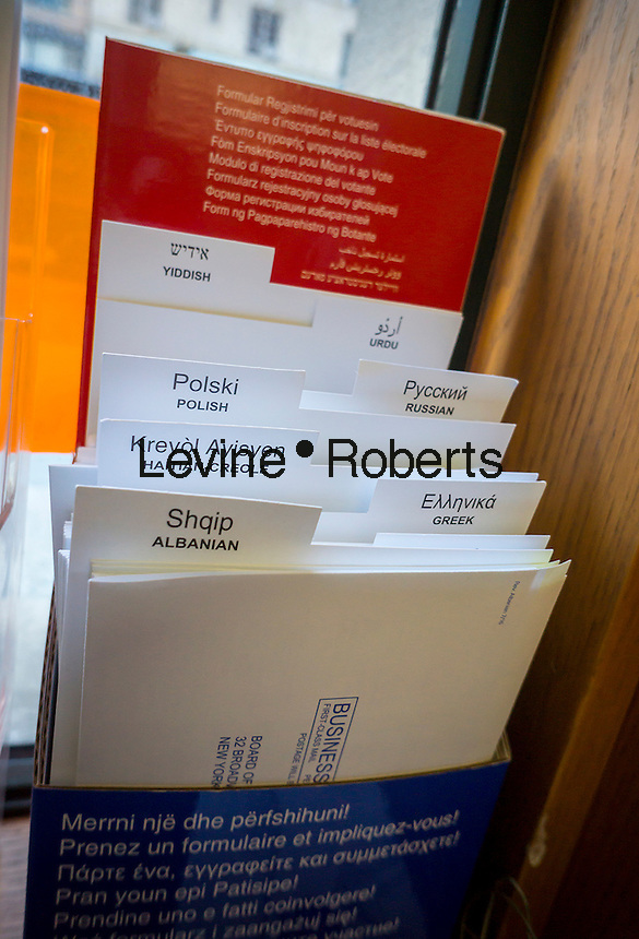 Multi-lingual voter registration forms in a public library in New York on Monday, October 24, 2016.  (© Richard B. Levine)