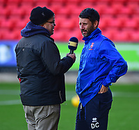 Lincoln City manager Danny Cowley is interviewed by BBC Radio Lincolnshire presenter Michael Hortin<br /> <br /> Photographer Andrew Vaughan/CameraSport<br /> <br /> The EFL Sky Bet League Two - Crewe Alexandra v Lincoln City - Saturday 11th November 2017 - Alexandra Stadium - Crewe<br /> <br /> World Copyright &copy; 2017 CameraSport. All rights reserved. 43 Linden Ave. Countesthorpe. Leicester. England. LE8 5PG - Tel: +44 (0) 116 277 4147 - admin@camerasport.com - www.camerasport.com