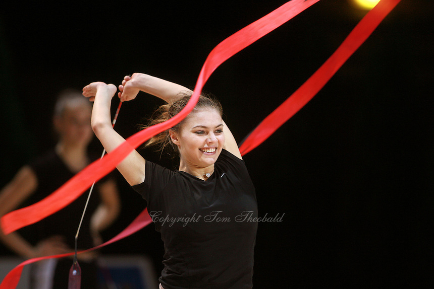 Alina Kabaeva of Russia expresses with ribbon  during early training at 2006 Thiais Grand Prix in Paris, France on March 24, 2006.  (Photo by Tom Theobald)