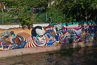 """The Red Scare"" ""McCarthyism"" ""Development of Suberbia"",, Great Wall, Mural, Valley Glen, Los Angeles, CA, San Fernando, Valley, Tujunga Wash, sub watershed, California"