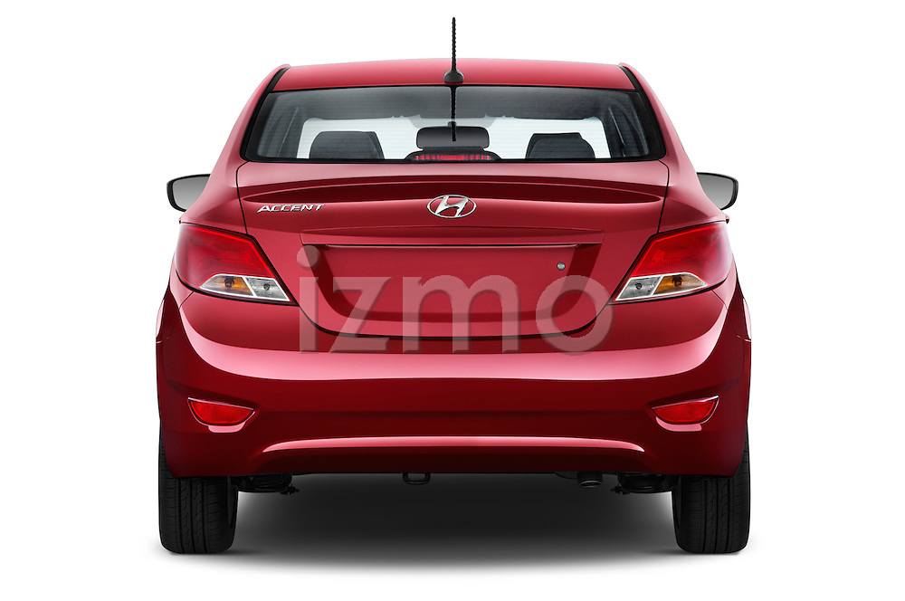 Straight rear view of a 2015 Hyundai Accent GLS 4-Door 6-Speed Automatic 2 Door Sedan Rear View  stock images
