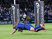 8th September 2017, RDS Arena, Dublin, Ireland; Guinness Pro14 Rugby, Leinster versus Cardiff Blues; Sean Cronin (Leinster) dives in to score a try