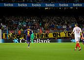 4th November 2017, Camp Nou, Barcelona, Spain; La Liga football, Barcelona versus Sevilla; 'Europe shame on you' banner in the crowd