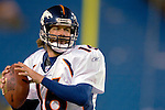 17 December 2005: Denver Broncos quarterback Jake Plummer takes some pre-game reps before game-time against the Buffalo Bills  at Ralph Wilson Stadium in Orchard Park, NY. The Broncos defeated the Bills 28-17. .Mandatory Photo Credit: Ed Wolfstein