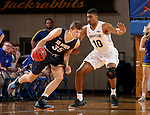 BROOKINGS, SD - NOVEMBER 1: Alou Dillon #10 from South Dakota State University defends as Mitchell Sueker #5 from South Dakota School of Mines tries to drive to the basket during their exhibition game Thursday night at Frost Arena in Brookings. (Photo by Dave Eggen/Inertia)