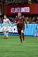 ATLANTA, GA - MARCH 07: ATLANTA, GA - MARCH 07: Atlanta United defender Brooks Lennon runs down the ball during the match against FC Cincinnati, which Atlanta won, 2-1, in front of a crowd of 69,301 at Mercedes-Benz Stadium during a game between FC Cincinnati and Atlanta United FC at Mercedes-Benz Stadium on March 07, 2020 in Atlanta, Georgia.