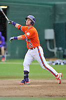 Sophomore catcher Robert Jolly (12) of the Clemson Tigers in a fall practice intra-squad Orange-Purple scrimmage on Saturday, September 26, 2015, at Doug Kingsmore Stadium in Clemson, South Carolina. (Tom Priddy/Four Seam Images)