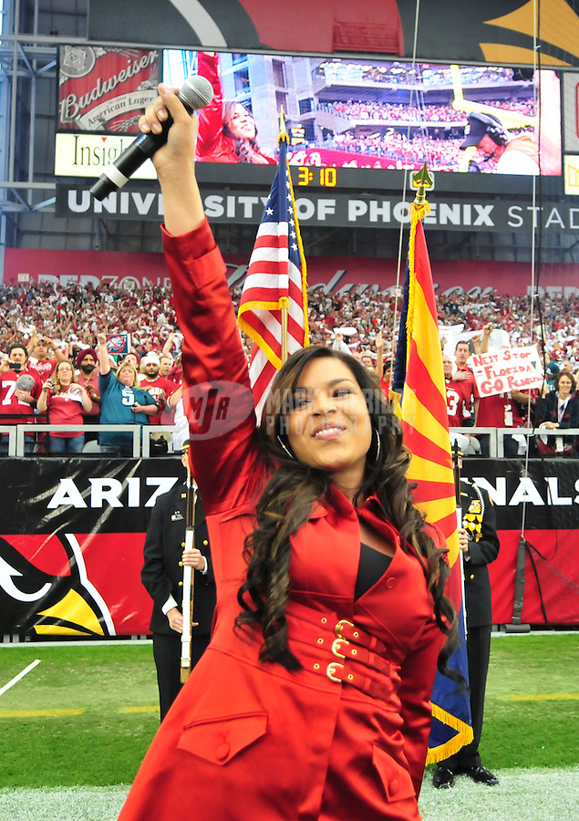 Jan. 18, 2009; Glendale, AZ, USA; Rcording artist Jordin Sparks after singing the national anthem prior to the game between the Arizona Cardinals against the Philadelphia Eagles during the NFC Championship game at University of Phoenix Stadium. Arizona defeated the Eagles 32-25 to advance to the Super Bowl. Mandatory Credit: Mark J. Rebilas-