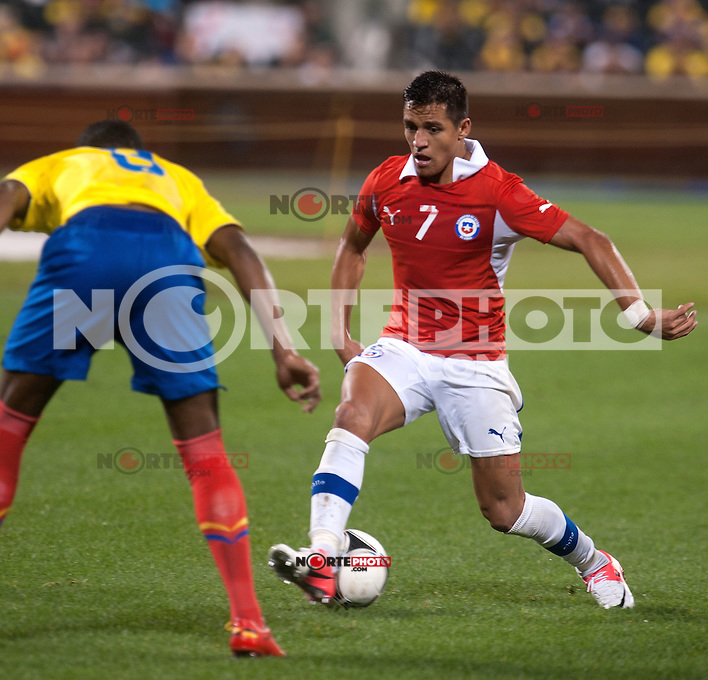 Fricson Erazo; Alexis Sanchez at the Ecuador vs Chile International Soccer friendly at Citifield in Queens, New York. August 15, 2012. &copy;&nbsp;mpi03/MediaPunch Inc. /NortePhoto.com<br />