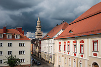 Town hall tower rises above old town, Opole, Silesia, Poland