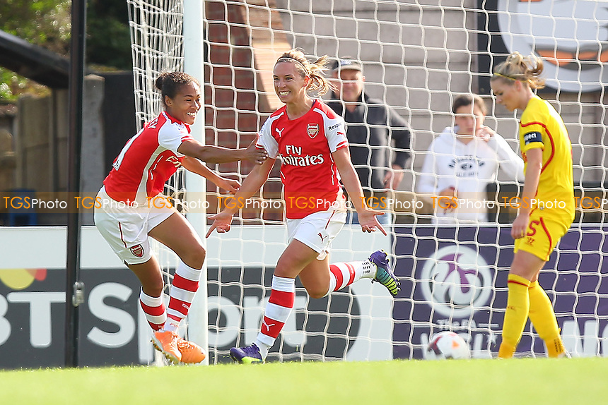 Jordan Nobbs of Arsenal Ladies celebrates scoring the second goal for her team - Arsenal Ladies vs Liverpool Ladies - FA Womens Super League Football at Meadow Park, Boreham Wood FC  - 05/10/14 - MANDATORY CREDIT: Gavin Ellis/TGSPHOTO - Self billing applies where appropriate - contact@tgsphoto.co.uk - NO UNPAID USE
