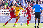 Tom Rogic of Australia (C) competes for the ball with Tamer Seyam of Palestine (L) during the AFC Asian Cup UAE 2019 Group B match between Palestine (PLE) and Australia (AUS) at Rashid Stadium on 11 January 2019 in Dubai, United Arab Emirates. Photo by Marcio Rodrigo Machado / Power Sport Images