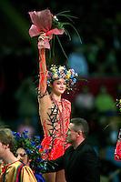 "Anna Bessonova of Ukraine celebrates win during event finals at 2007 World Cup Kiev, ""Deriugina Cup"" in Kiev, Ukraine on March 18, 2007. Anna Bessonova earlier won the seniors All-Around."