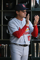 SAN FRANCISCO - APRIL 13:  Manager Tony La Russa of the St. Louis Cardinals watches his team from the dugout during the game against the San Francisco Giants at AT&T Park in San Francisco, California on April 13, 2008.  The Giants defeated the Cardinals 7-4.  Photo by Brad Mangin