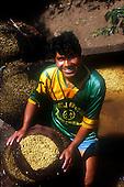 Quillabamba, Peru. Portrait of a man in a COCLA co-operative football shirt; COCLA coffee co-operative.