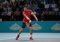 Kei Nishikori (JPN)(5) action against  Andy Murray (GBR)(1)in their John McEnroe  Group  match during Day Four of the Barclays ATP World Tour Finals 2015 played at The O2 Arena, London on November 16th  2016