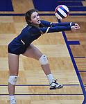 Althoff player Katie Wemhoener bumps a Minooka serve. Althoff lost to Minooka in the championship game of the O'Fallon Class 4A volleyball sectional at O'Fallon HS in O'Fallon, IL on November 6, 2019.<br /> Tim Vizer/Special to STLhighschoolsports.com