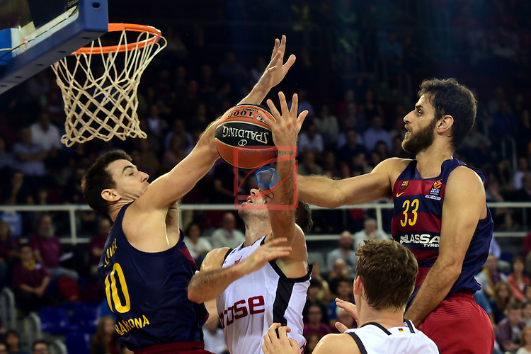 Turkish Airlines Euroleague 2016/2017.<br /> Regular Season - Round 4.<br /> FC Barcelona Lassa vs Brose Bamberg: 78-74.<br /> Victor Clave, Fabien Causeur &amp; Stratos Perperoglu.