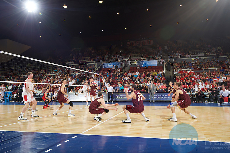 09 MAY 2015:  Lewis University takes on Loyola University during the Division I Men's Volleyball Championship held at Maples Pavilion on the Stanford University campus in Stanford, CA.  Jamie Schwaberow/NCAA Photos