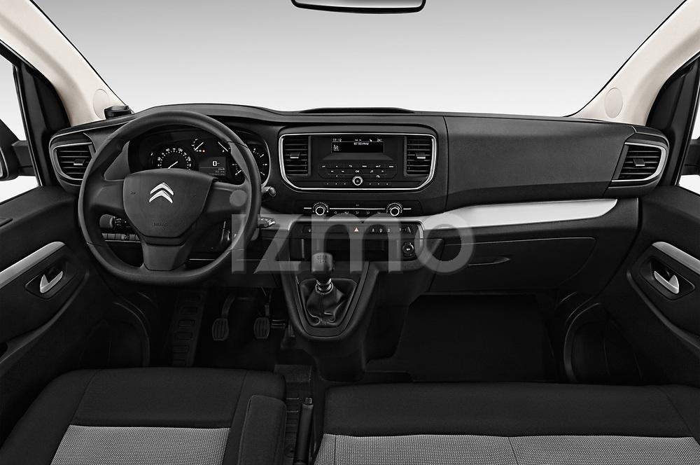 Stock photo of straight dashboard view of a 2017 Citroen Space Tourer Business 4 Door Passenger Van