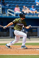 Biloxi Shuckers starting pitcher Kodi Medeiros (16) follows through on a swing during a game against the Jacksonville Jumbo Shrimp on May 6, 2018 at MGM Park in Biloxi, Mississippi.  Biloxi defeated Jacksonville 6-5.  (Mike Janes/Four Seam Images)