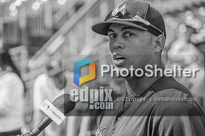 1 April 2013: Miami Marlins outfielder Giancarlo Stanton is interviewed by the media prior to the Opening Day Game against the Washington Nationals at Nationals Park in Washington, DC. The Nationals shut out the Marlins 2-0 to launch the 2013 season. Mandatory Credit: Ed Wolfstein Photo *** RAW (NEF) Image File Available ***