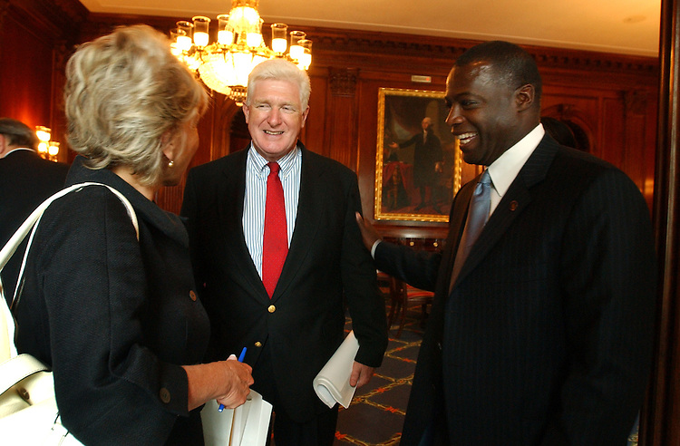 Former Redskin Darrell Green shares a laugh with Reps. Jim Moran, D-Va., and Jane Harman, D-Calif., after meeting with Moran on behalf of the Wolf Trap Foundation for the Performing Arts' Education Programs.  Green and other Wolf Trap officials met with members from N. Virginia and Maryland to discuss funding for the programs.