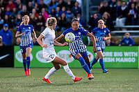 Allston, MA - Sunday, May 22, 2016: FC Kansas City defender Katie Bowen (21) and Boston Breakers forward Kyah Simon (17) during a regular season National Women's Soccer League (NWSL) match at Jordan Field.