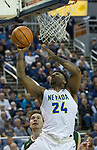 Nevada's Jordan Caroline shoots a layup against Colorado State in the second half of an NCAA college basketball game in Reno, Nev., Sunday, Feb. 25, 2018. (AP Photo/Tom R. Smedes)
