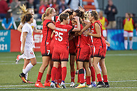 Portland, Oregon - Sunday September 11, 2016: The Thorns celebrate a goal during a regular season National Women's Soccer League (NWSL) match at Providence Park.