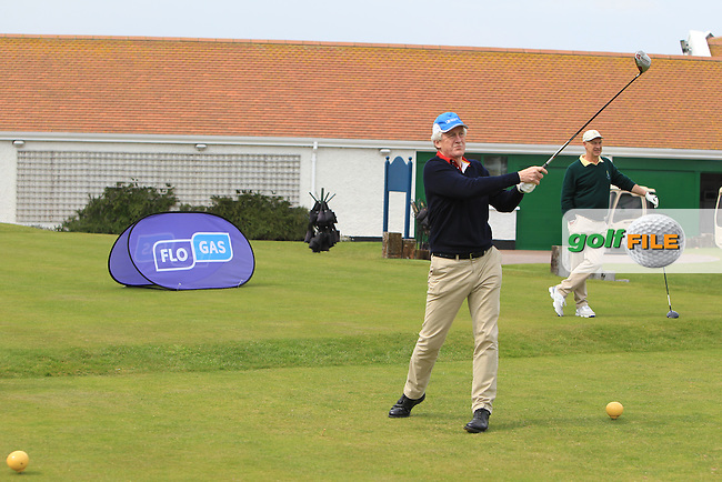 on the 1st tee and playing with Gary Murphy (Flogas Ambassador and former European Tour player) during the Flogas Irish Amateur Open Championship Am-Am at Royal Dublin on Monday 9th May 2016.<br /> Picture:  Thos Caffrey / www.golffile.ie