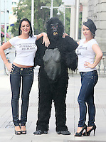 "NO REPRO FEE. 15/9/2010. John J. May launches his controversial book ""The Origin of Specious Nonsense"" outside the Dail in Dublin.  Pictured are a gorrila, Joan Fitzgerald and Janine Clancy. The launch will then commences at 7pm in Buswells hotel where he delivers his talk: ""How evolution made monkeys out of man"" Picture James Horan/Collins Photos"